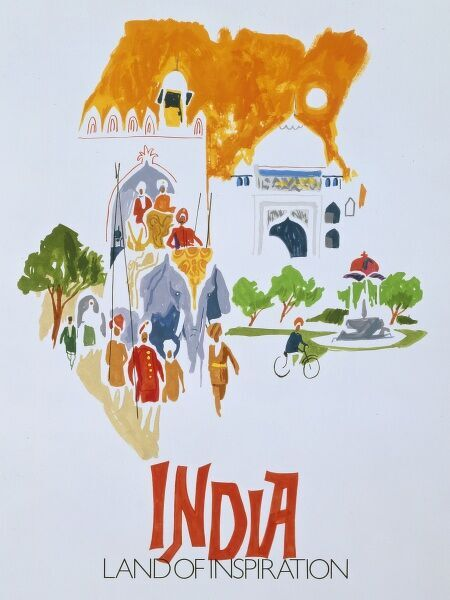 Promotional painting by Malcolm Greensmith for Travel to India - ('Land of Inspiration')