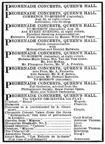 Programme from the first promenade concert at the Queen's Hall, 10th August 1895. Date: 1895