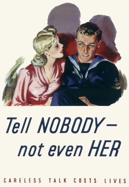 Second world war propaganda poster warning people that careless talk costs lives. Tell nobody -- not even her