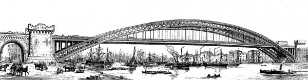 Engraving showing a view of a proposed high level bridge over the River Thames, near the Tower of London, 1878