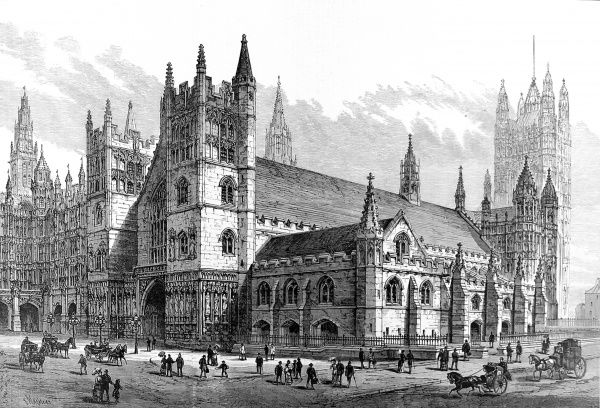 Engraving showing the exterior of the proposed restoration of Westminster Hall, London, 1884