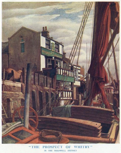 Painting of the famous old down river inn in Shadwell whose door opens onto Wapping Wall. Said to have a long history, it was claimed that pirates were hanged there. The pub still exists today