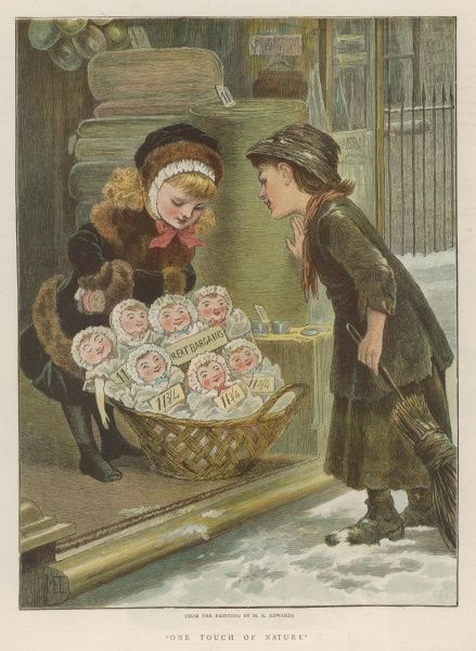 Two girls - one rich, the other poor - admire a display of dolls outside a shop, offered at the bargain price of eleven pence and three farthings