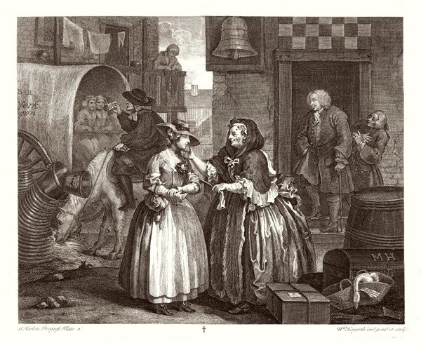 The Harlot's Progress 1. An innocent country girl is ensnared by a procuress
