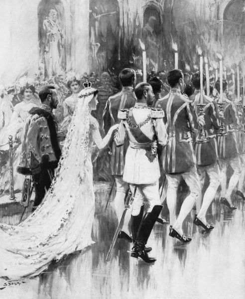 Princess Viktoria Luise, only daughter of the Kaiser, is accompanied by King George V in a traditional torch dance after her marriage to Prince Ernst of Cumberland. Date: 31 May 1913