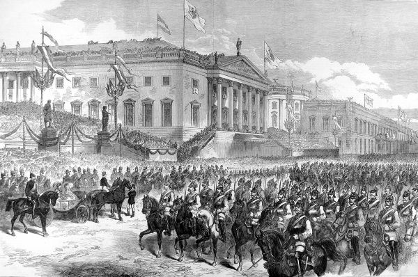 Illustration showing the Prussian victory parade in Berlin at the conclusion of the Franco-Prussian War, with troops passing before the Emperor on the Opera Place. The Franco-Prussian peace treaty was signed on May 10th 1871 in Frankfurt. Date: 1871