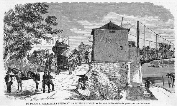 The road from Paris to Versailles is controlled by an outpost manned by the Prussians at the porte Saint- Denis
