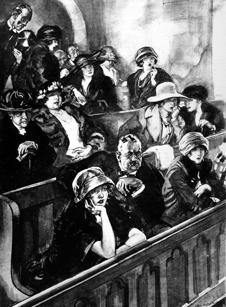 Illustration by Steven Spurrier showing young women in the public gallery of a divorce court. The image accompanied an article in the ILN suggesting that divorce courts should be private, as open courts were, 'an unhealthy attraction for young women&#39