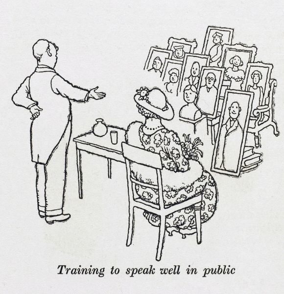 Training to speak well in public. Please note: Credit must appear as (c) Courtesy of the estate of Mrs J.C.Robinson/Pollinger Ltd/Mary Evans Picture Library