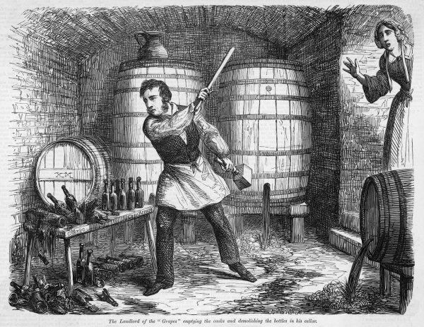 The landlord of the 'Grapes' tavern empties casks and smashes bottles in the cellar, in order to repent the evils of his intemperate profession