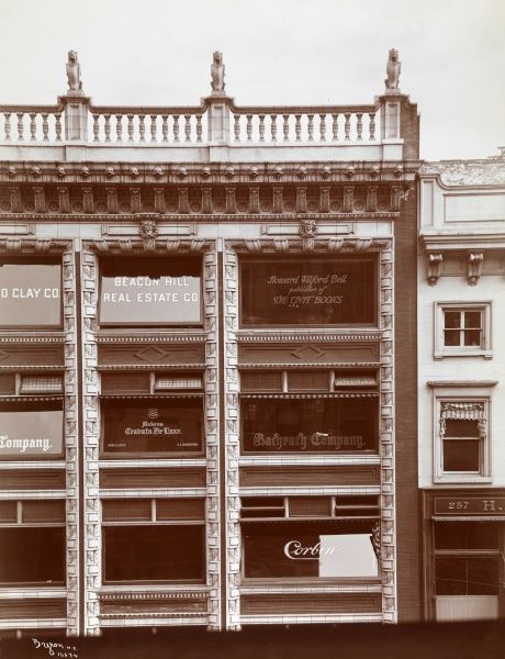 Bell, Howard Wilford, Publisher of the Unit Books. Exterior of the upper right hand portion of the facade of the building housing Howard Wilford Bell, publisher of the Unit Books