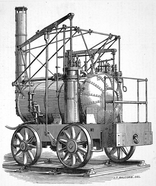 Puffing Billy, steam engine invented by William Headley in 1813. Headley solved the problem of slippage on the iron tracks by applying power through two sets of driving wheels. The engine was first used at Wylam Colliery near Newcastle