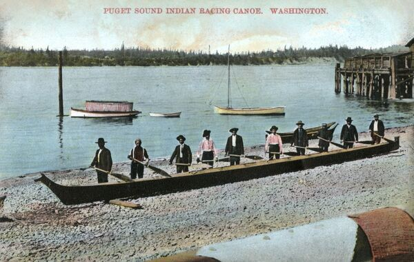 Puget Sound - Ten-man Indian Racing Canoe - Washington State. Date: circa 1909