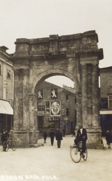 Pula - Croatia - Roman Arch. Pula was ceded to Yugoslavia in 1947 and is now part of Croatia. Date: 1920s