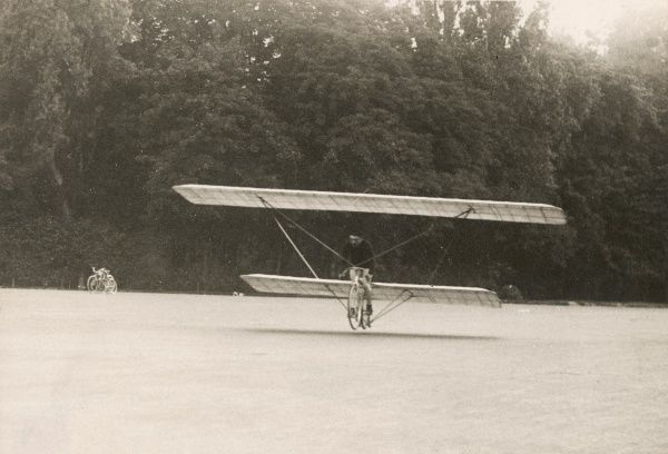 At Longchamps, Paris, cyclist Pulain attempts to win the Prix Peugeot for a successful man-powered flight