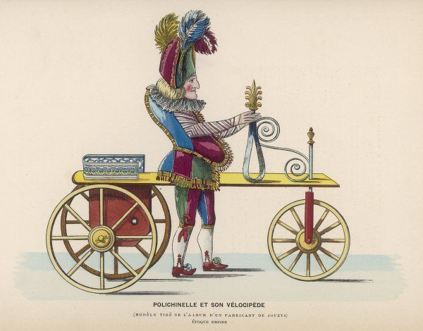 Toy representing Pulchinello riding a velocipede