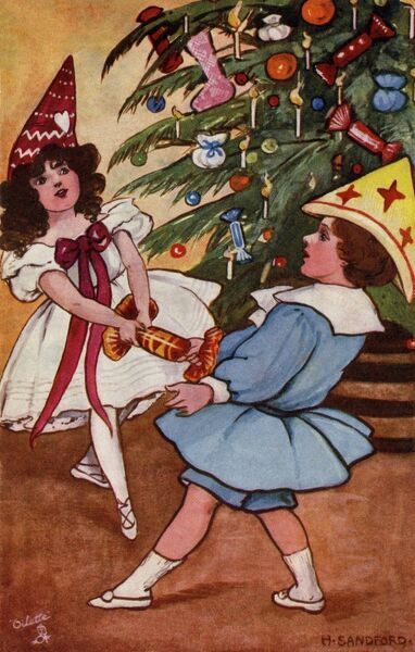 Pulling crackers by Hilda Dix Sandford. Illustration from a postcard by Hilda Dix Sandford (1875-1946). She specialised illustrating children at play. Date: circa 1909