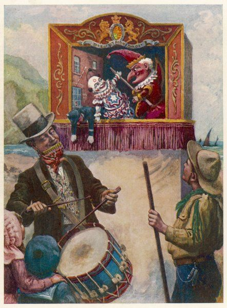 Punch and Judy performance at the seaside