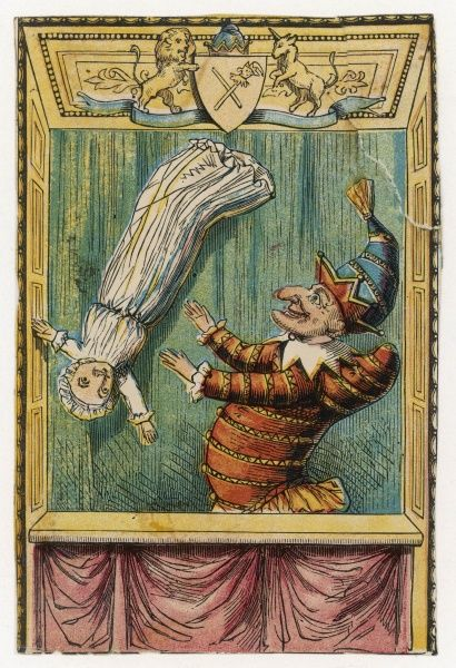 Mr Punch throws the baby in the air