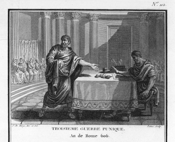 PUNIC WARS Cato throws fresh figs on Senate table, to show that Carthage is still a threat to Roman sovereignty ; he demands its destruction