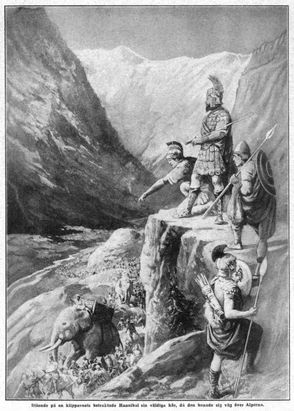 PUNIC WARS A Roman reconnaissance patrol watches Hannibal's advance through the Alps