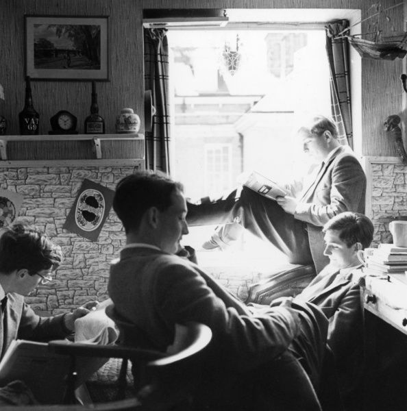 Pupils relaxing in a study room at Marlborough College. Date: 1962
