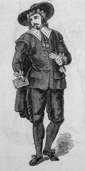 English Puritan (also known as Oliverian) in traditional dress holding a bible