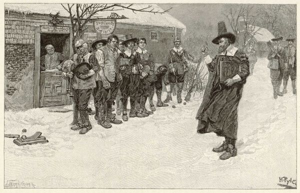In Puritan New England, the governor prohibits the traditional Christmas sports