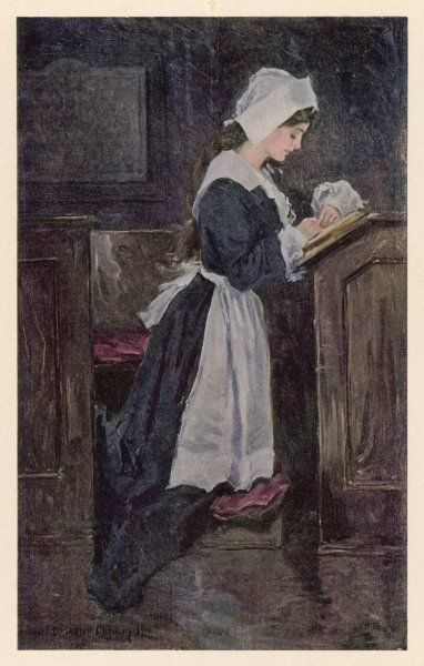 A Puritan girl at prayer