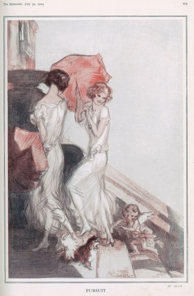An illustration of cupid, sent by an admirer, trying to catch up with two elegant ladies