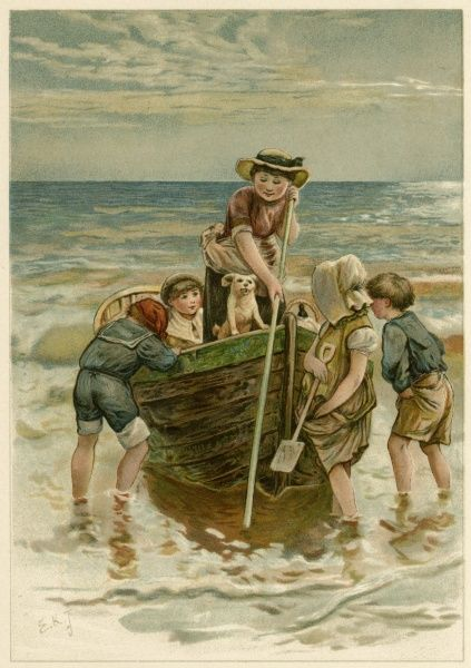 Children help push a fishing boat out from the shore, while its owner shoves with a pole. Date: 1890