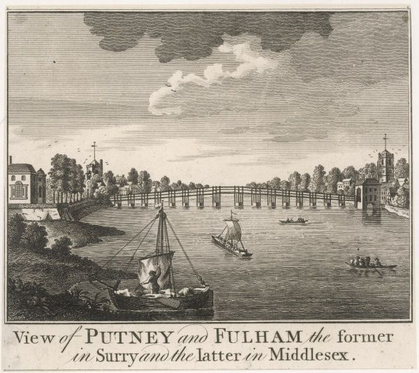 The bridge linking Fulham in Middlesex with Putney in Surrey