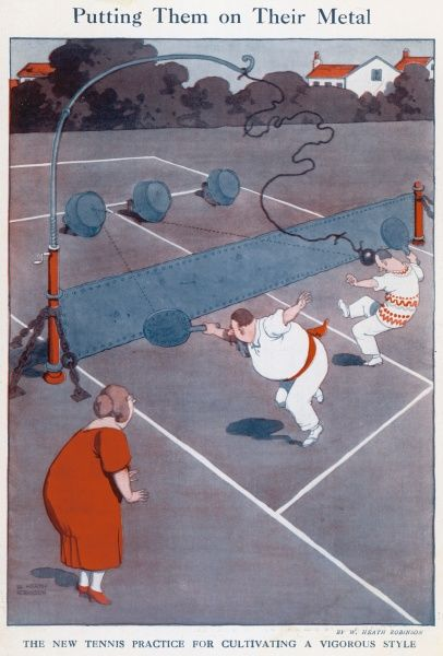 Cartoon, Putting them on their metal. New tennis practice with metal net and ball for cultivating a vigorous style. Please note: Credit must appear as Courtesy of the Estate of Mrs J.C.Robinson/Pollinger Ltd/ILN/Mary Evan&quot