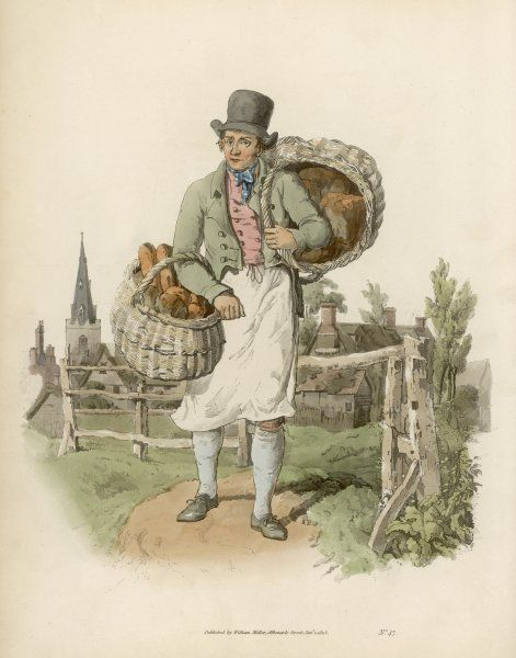 A BAKER Few itinerant traders are as welcome as the baker, with his baskets of wheaten bread (marked W) and his household bread (H)