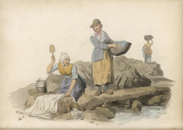 WELSH WASHERWOMEN Like French peasants, Welsh woman use a wooden spatula to beat their linen clean on a flat stone beside a stream