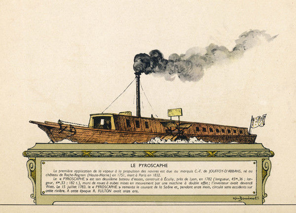 Jouffroy's steamboat proves its capability by steaming against the current on the Saone at Lyon, but the French government refuse to adopt the new technology