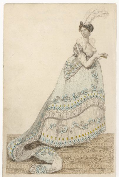 CAROLINE OF BRUNSWICK Wife of George IV in her court dress on 4 June 1807