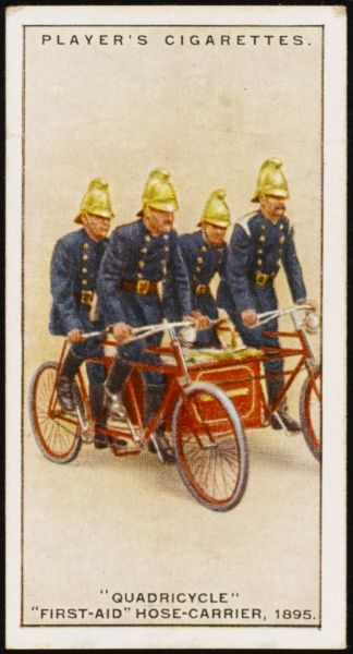 Merryweathers Quadricycle first-aid hose-carrier, consisting of two tandem bicycles suitably connected, between which was a carriage for fire-brigade implements Date: 1895