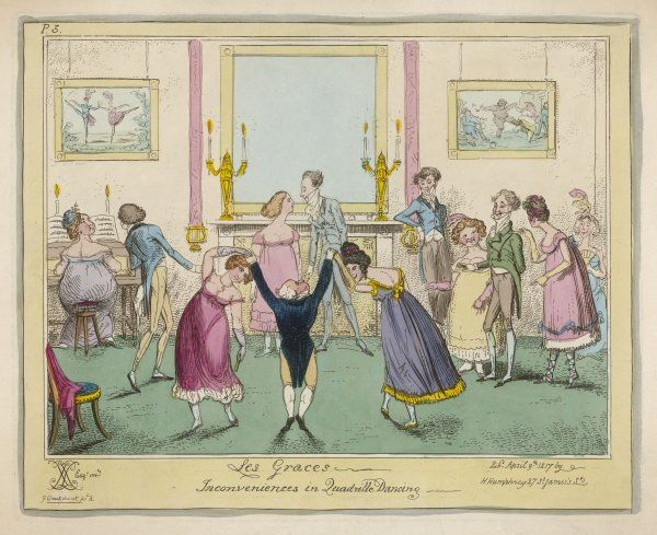 Inconveniences in Quadrille Dancing: a short gentleman struggles on tiptoe as he tries valiantly to turn two tall women with tall hairstyles
