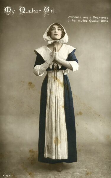 Prudence was a Quakeress in her modest Quaker Dress. Date: 1910s