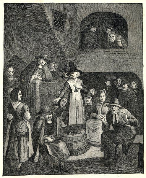 A Quaker meeting - a woman stands on an upturned barrel to preach