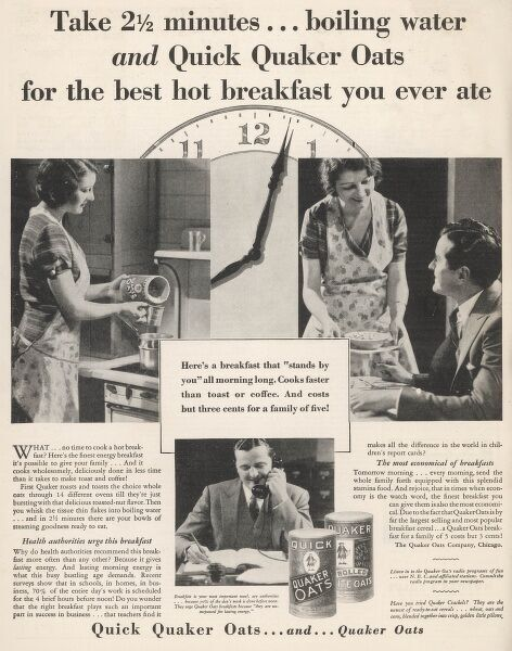 Advert for Quick Quaker Oats which can be knocked up in moments by a young housewife on the hob of a cooker before her hard working husband goes off to the office