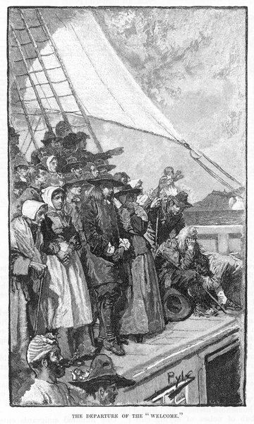 William Penn and other Quakers sail to the New World in the 'Welcome&#39