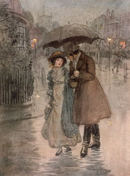 Phoebe and Valentine Brown walking in the rain. Date: First published: 1913
