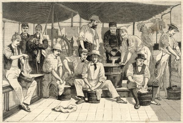 passengers washing their clothes on board the royal Mail company's steamer 'Neva', off Buenos Aires, by order of the health officer