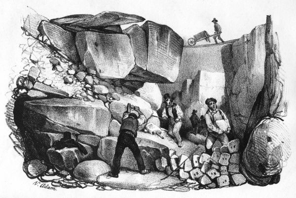 Quarrymen (carriers) at work. Date: circa 1845