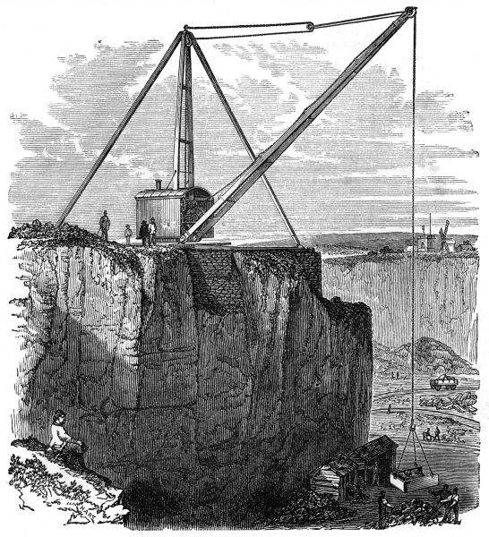 Steam derrick for raising stone from deep quarries Mount Sorrel granite Company, Leicestershire Date