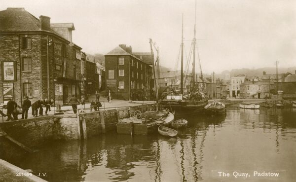 A beautiful photographic postcard of the Quay at Padstow, Cornwall