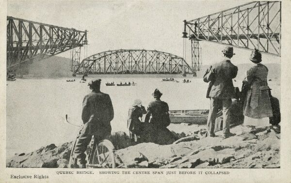 The centre section of the Quebec Bridge being raised into position on 11th September 1916