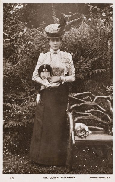 ALEXANDRA QUEEN TO EDWARD VII Shown here in a garden, possibly at Sandringham with her two Japanese Chin dogs, Haru and Togo
